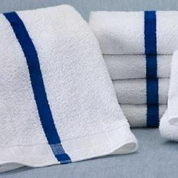1 Dozen New  22x44 Blue Stripe Bath Towels 6# Per Dozen Pool
