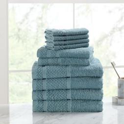 10 Towel Set 100% Cotton Bath Towels Wash Cloths Hand Dry Ab