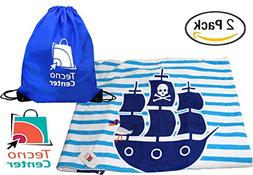 TecnoCenter %100 Cotton Kids Towel with Hood for Beach, Bath