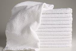 12 New White 22x44 100% Cotton Terry Bath/salon 6.15# Dozen