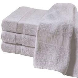 12 NEW BATH TOWELS 22X44 WHITE 100% COTTON 6 LBS BLEACH SAFE