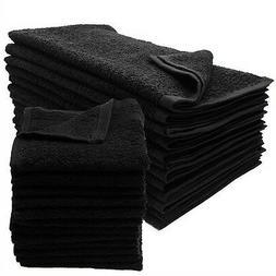 12 new black salon gym spa towels ringspun hand towels 16x27
