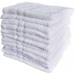 12 new white cotton hotel bath towels 22x44 royal regal  bra