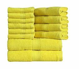 HILLFAIR 12 Piece- 600 GSM Cotton Bath Towels Set -