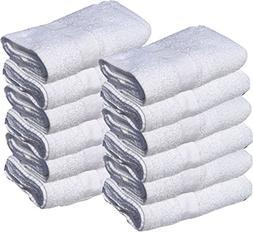 GOLD TEXTILES 12 New White 22X44 100% Cotton Economy Bath To