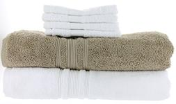 2 Charisma Bath Towels 30in x 58in, White & Khaki Color + Bo