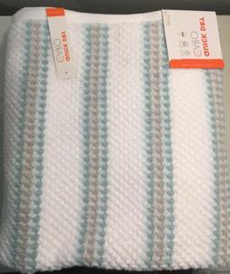 Caro Home 2 Bath Towels  -  White Aqua & Gray Stripes Luxury