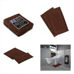 2 Luxury Combed Cotton Bath Mat 21 x 34 inches - Dark Brown