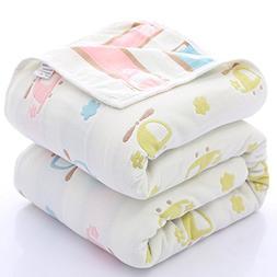 2 Packs 100% Organic Muslin Cotton Toddler 6 Layers Carpet f