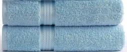 2 Piece Light Blue 30X54 Bath Towels Cotton New