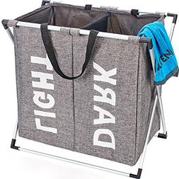 HOMEST 2 Sections Laundry Hamper Bag with Folding Aluminium