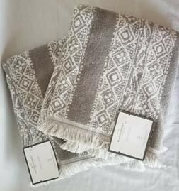 "2 - Stamped Geo Bath Towels Gray White 52"" X 27"" - Threshold"