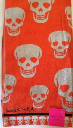 2 Betsey Johnson Sugar Skulls Orange Bath Towels Halloween N