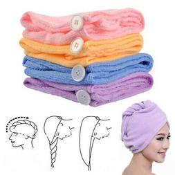 2 Turban Towels Twist Hair Quick Dry Microfiber Bath Towel H