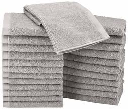 24 Grey Soft 100% Cotton Washcloths Face Towels Premium Hote