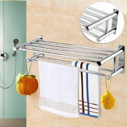 2Tier Wall Mounted Towel Rack Bathroom Rail Holder Storage S