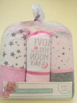 3 Hooded Baby Bath Towels Stars And Moon  Designs Baby Kiss
