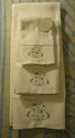 3 pc Sophia Embroidered White Towels - Bath, Hand & Fingerti