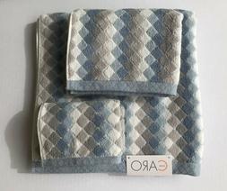Caro Home 3 Piece Bath Towel Set - Blue White Gray Diamond P