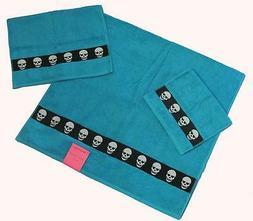 3 Betsey Johnson TOTALLY SKULLS Turquoise White Skull Bath/H