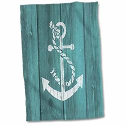 3D Rose Cracked White Painted Anchor on Blue Background-Not