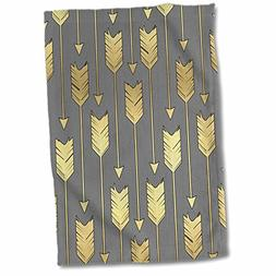 "3D Rose Grey and Gold Arrows Pattern Hand Towel, 15"" x 22"""