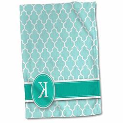 3D Rose Letter K Aqua Blue Quatrefoil Pattern Teal Turquoise