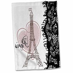 3dRose 3D Rose Paris Eiffel Tower with Heart and Black Lace
