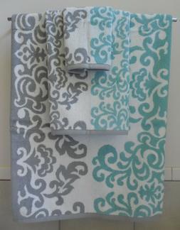 3Pc Set Hotel Vendome French Country Bath Towels Aqua Gray W
