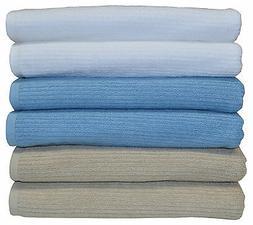 4 Egyptian Cotton Bath Towels Set Stone/Blue/White 68x137cm