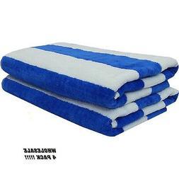 4 jumbo white blue stripe hotel cabana beach towels pool tow