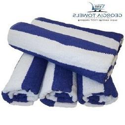 4 New Large Beach, Resort Pool Towels in Cabana Stripe Blue