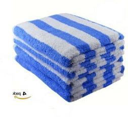 4 new white blue stripe cotton hotel cabana beach towels poo