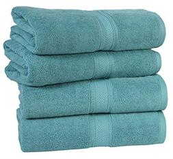 HILLFAIR 4 Pack Cotton Bath Towels Set- 600 GSM 100% Combed