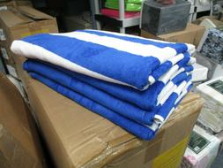 4 Pack Large Beach Resort Pool Towels in Cabana Stripe Blue
