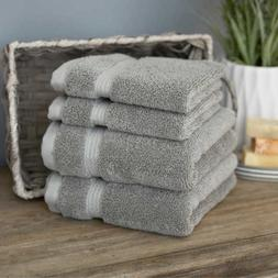4 piece Gray Cotton Hand Towels and Washcloths Set Solid Pat
