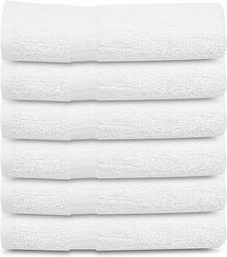 6 cotton white bath towels 22x44 inch