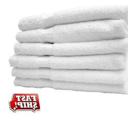 6 new white 100% cotton hotel collections bath towels 22x44