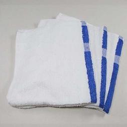 6 new white / blue center stripe bath pool towels hotel mote