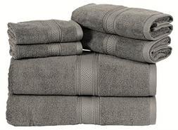 HILLFAIR 6 Pack Cotton Bath Towels Set- 600 GSM 100% Combed
