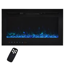 """36"""" Electric Fireplace Recessed Wall Mount Heater Adjustable"""