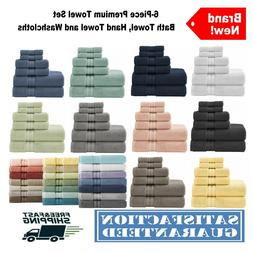 6 piece towel set textured bath hand