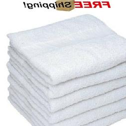 6 white cotton hotel bath towels 20x40 new soft absorbent sp
