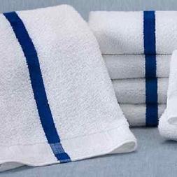 60  New 22x44 Blue Stripe Bath Towels 6# Per Dozen Hotel Po