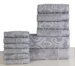 600 GSM Cotton 12 Piece Towel Set : 1 Jacquard & 1 Solid Bat