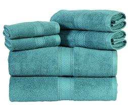 HILLFAIR Premium 600 GSM 6 Piece Towel Set- 2 Bath Towels, 2