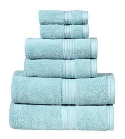 DREAM CASTLE 650 GSM 100% Cotton 6 Piece Bath Towel Set,Aqua