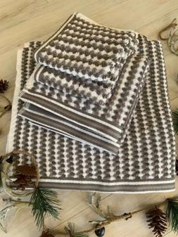 CARO Home 6PC Lace Pattern Stripe Bath Towels Set 100% Cotto