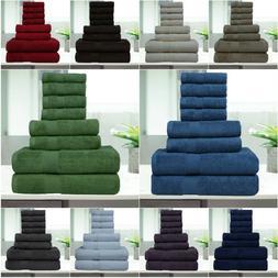8 Pc Luxury Towel Set 100% Premium Cotton Bath Towels, Hand
