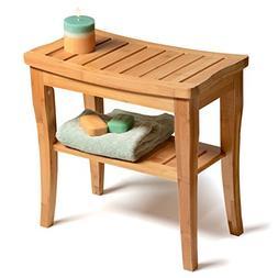 Bambüsi Bamboo Shower Stool Bench with Storage Shelf, Delux